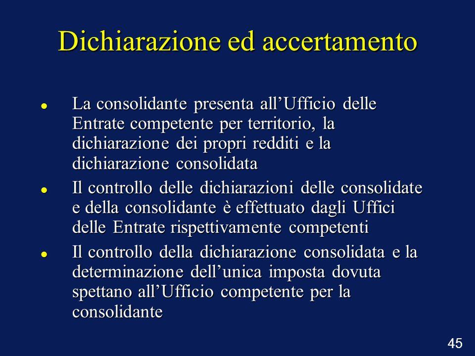 45 Dichiarazione ed accertamento La consolidante presenta allUfficio delle Entrate competente per territorio, la dichiarazione dei propri redditi e la