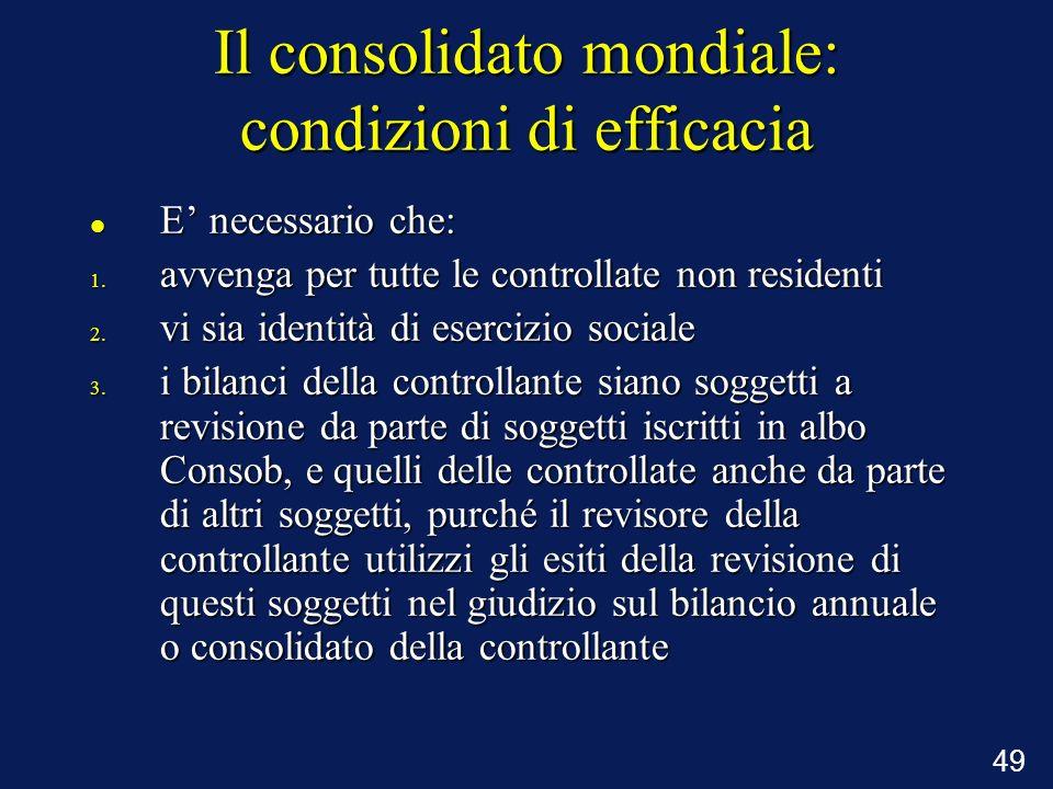 49 Il consolidato mondiale: condizioni di efficacia E necessario che: E necessario che: 1. avvenga per tutte le controllate non residenti 2. vi sia id