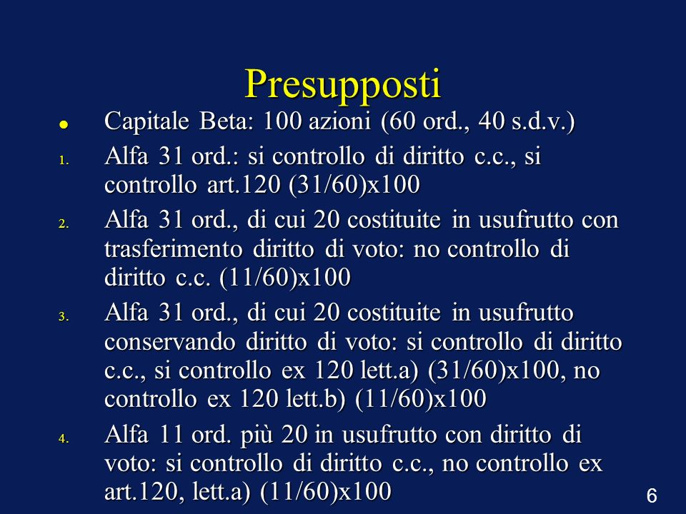 6 Presupposti Capitale Beta: 100 azioni (60 ord., 40 s.d.v.) Capitale Beta: 100 azioni (60 ord., 40 s.d.v.) 1. Alfa 31 ord.: si controllo di diritto c
