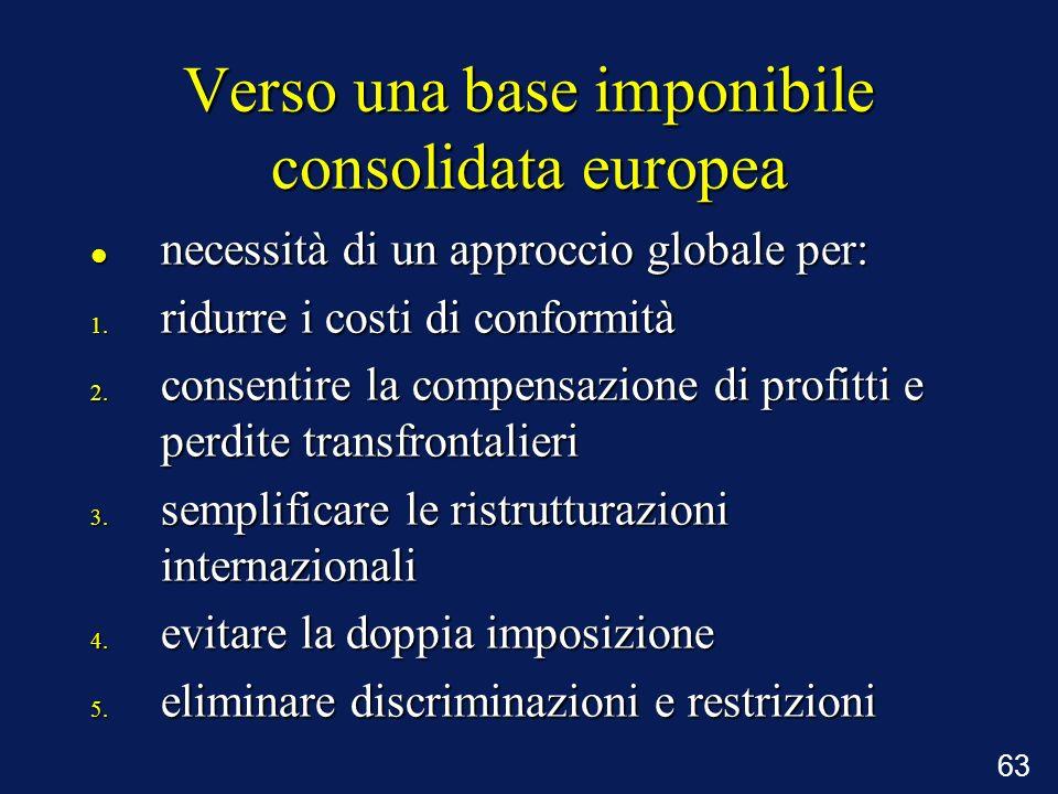 63 Verso una base imponibile consolidata europea necessità di un approccio globale per: necessità di un approccio globale per: 1. ridurre i costi di c