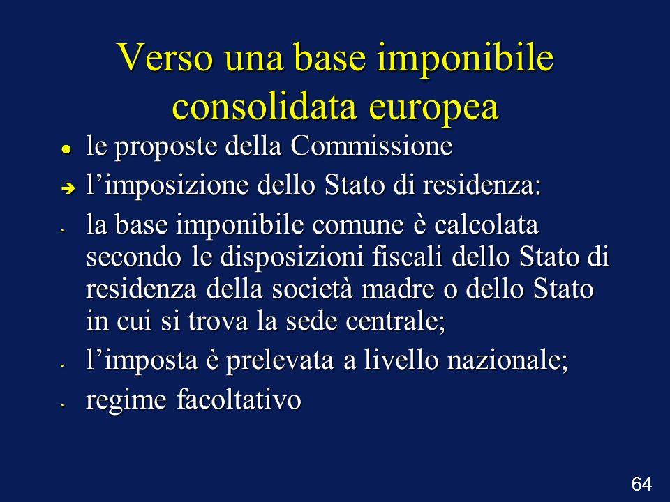 64 Verso una base imponibile consolidata europea le proposte della Commissione le proposte della Commissione è limposizione dello Stato di residenza: