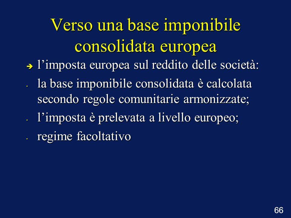 66 Verso una base imponibile consolidata europea è limposta europea sul reddito delle società: la base imponibile consolidata è calcolata secondo rego
