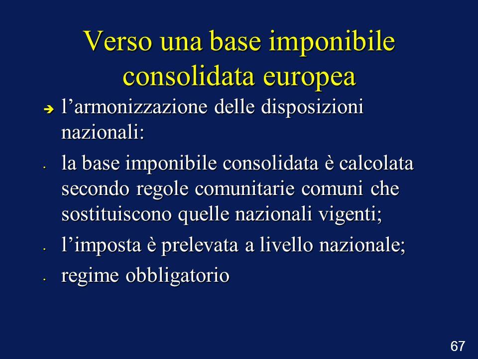 67 Verso una base imponibile consolidata europea è larmonizzazione delle disposizioni nazionali: la base imponibile consolidata è calcolata secondo re