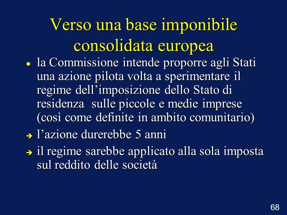 68 Verso una base imponibile consolidata europea la Commissione intende proporre agli Stati una azione pilota volta a sperimentare il regime dellimpos
