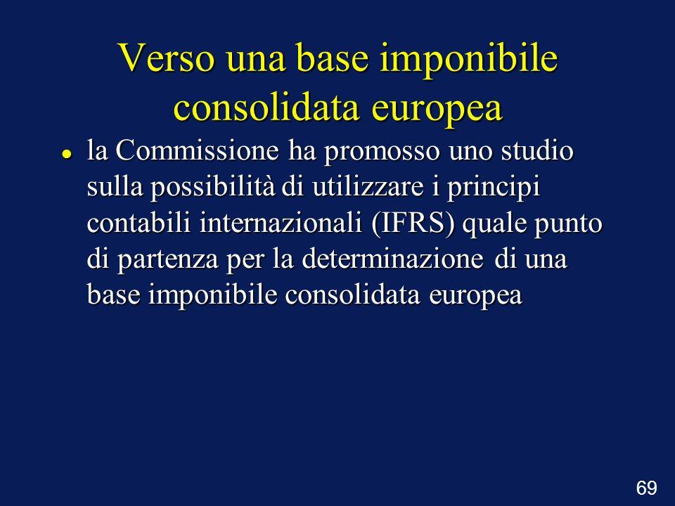 69 Verso una base imponibile consolidata europea la Commissione ha promosso uno studio sulla possibilità di utilizzare i principi contabili internazio