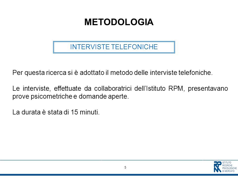 5 METODOLOGIA Per questa ricerca si è adottato il metodo delle interviste telefoniche.