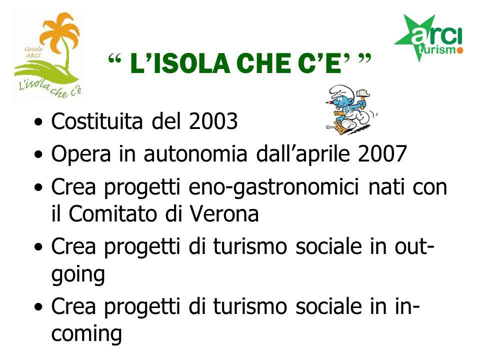LISOLA CHE CE Costituita del 2003 Opera in autonomia dallaprile 2007 Crea progetti eno-gastronomici nati con il Comitato di Verona Crea progetti di turismo sociale in out- going Crea progetti di turismo sociale in in- coming