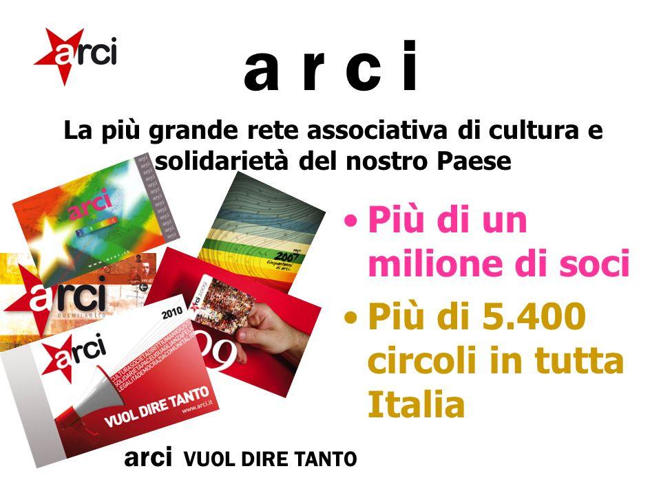 a r c i La più grande rete associativa di cultura e solidarietà del nostro Paese Più di un milione di soci Più di 5.400 circoli in tutta Italia arci VUOL DIRE TANTO