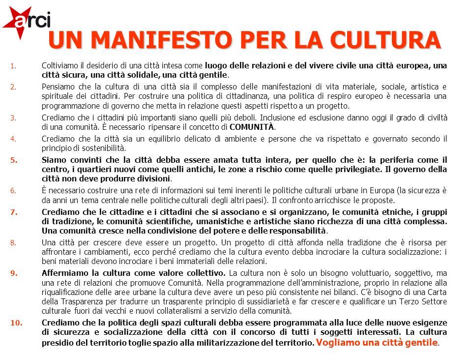 1. Coltiviamo il desiderio di una città intesa come luogo delle relazioni e del vivere civile una città europea, una città sicura, una città solidale,