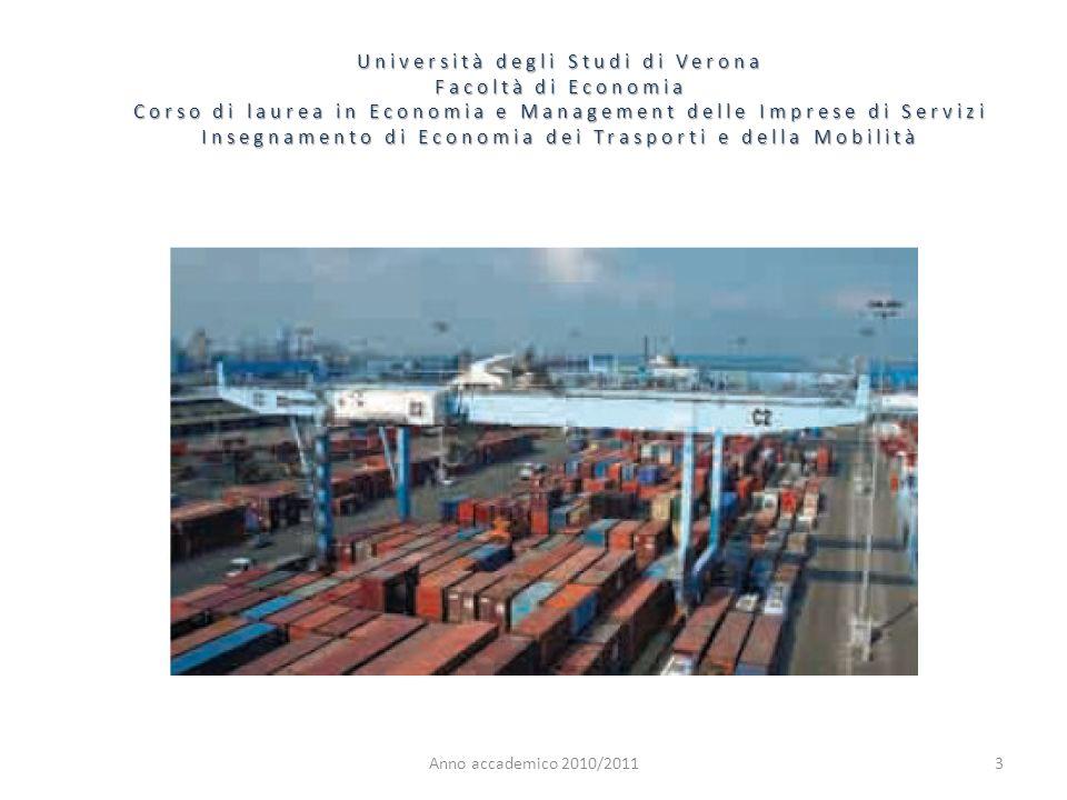 4 Università degli Studi di Verona Facoltà di Economia Corso di laurea in Economia e Management delle Imprese di Servizi Insegnamento di Economia dei Trasporti e della Mobilità Anno accademico 2010/2011