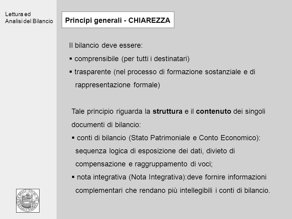 Lettura ed Analisi del Bilancio Principi generali - CHIAREZZA Il bilancio deve essere: comprensibile (per tutti i destinatari) trasparente (nel proces