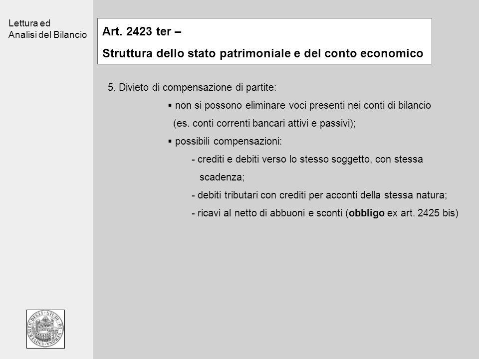 Lettura ed Analisi del Bilancio Art. 2423 ter – Struttura dello stato patrimoniale e del conto economico 5. Divieto di compensazione di partite: non s