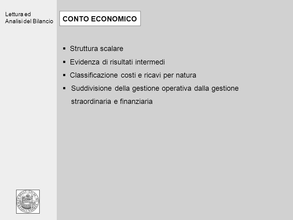 Lettura ed Analisi del Bilancio CONTO ECONOMICO Struttura scalare Evidenza di risultati intermedi Classificazione costi e ricavi per natura Suddivisio