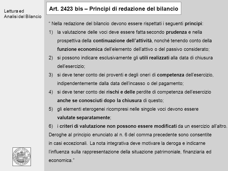 Lettura ed Analisi del Bilancio Art. 2423 bis – Principi di redazione del bilancio Nella redazione del bilancio devono essere rispettati i seguenti pr