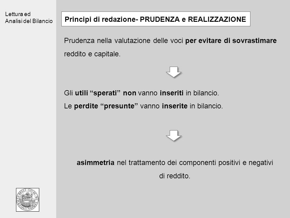 Lettura ed Analisi del Bilancio Principi di redazione- PRUDENZA e REALIZZAZIONE Prudenza nella valutazione delle voci per evitare di sovrastimare redd