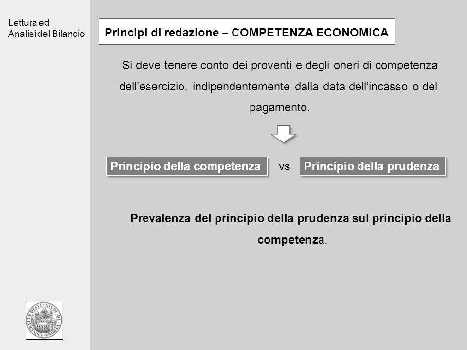 Lettura ed Analisi del Bilancio Principi di redazione – COMPETENZA ECONOMICA Si deve tenere conto dei proventi e degli oneri di competenza delleserciz
