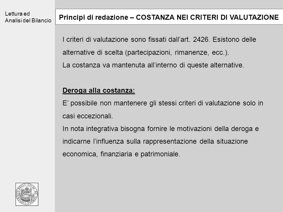 Lettura ed Analisi del Bilancio Principi di redazione – COSTANZA NEI CRITERI DI VALUTAZIONE I criteri di valutazione sono fissati dallart. 2426. Esist