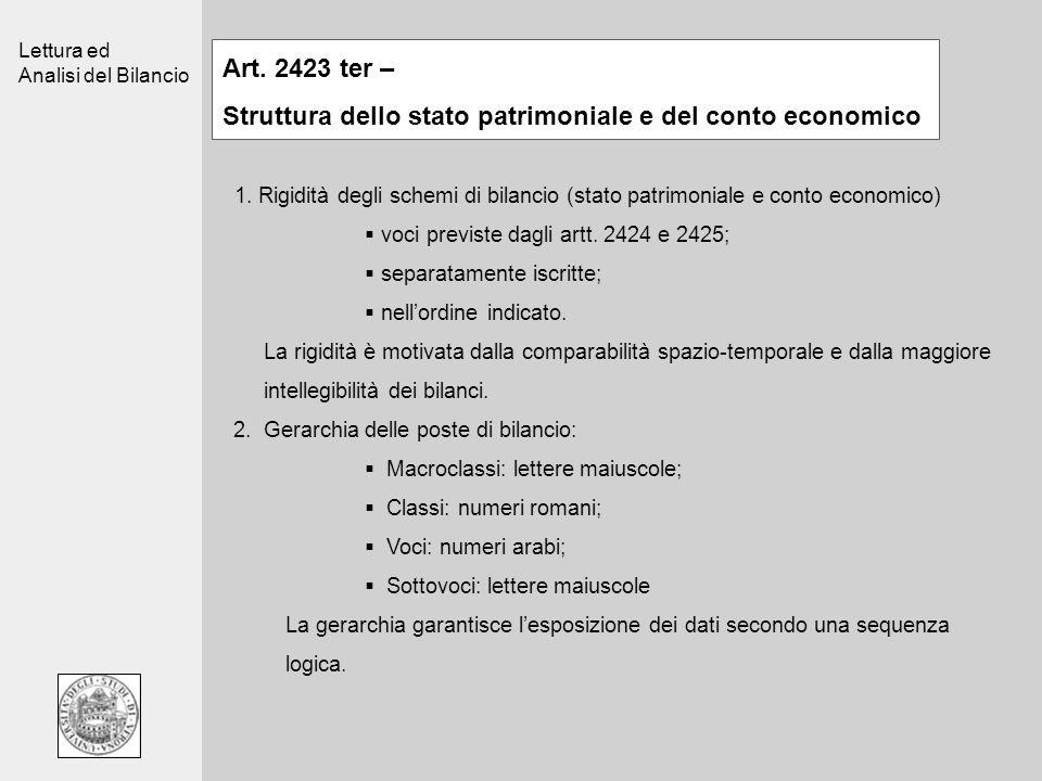 Lettura ed Analisi del Bilancio Art. 2423 ter – Struttura dello stato patrimoniale e del conto economico 1. Rigidità degli schemi di bilancio (stato p