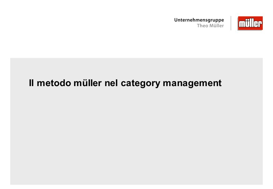 Il metodo müller nel category management