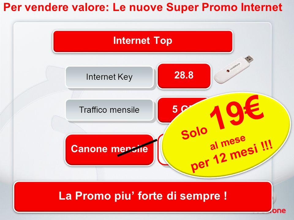 Per vendere valore: Le nuove Super Promo Internet 28.8 5 GB Canone mensile 25 Internet Top Traffico mensile Internet Key Solo 19 al mese per 12 mesi !!.