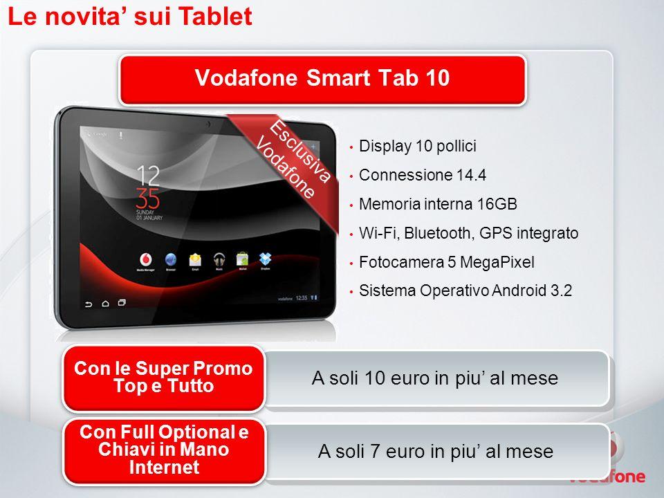 A soli 10 euro in piu al mese Le novita sui Tablet Display 10 pollici Connessione 14.4 Memoria interna 16GB Wi-Fi, Bluetooth, GPS integrato Fotocamera