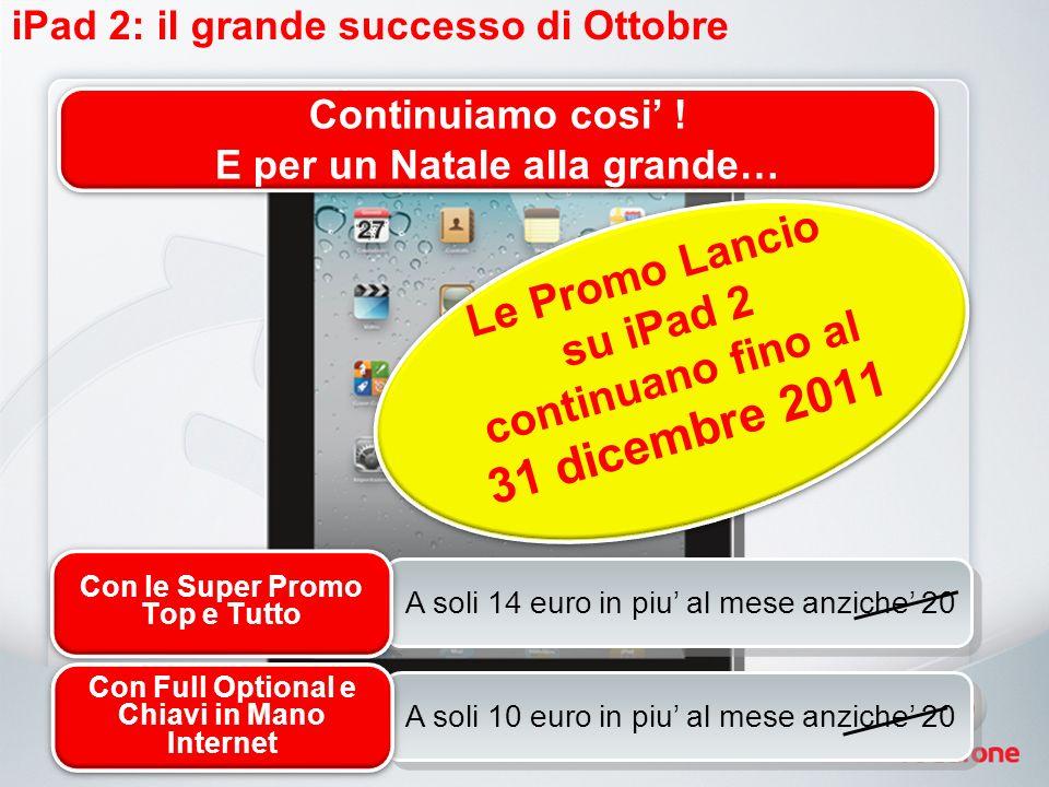 iPad 2: il grande successo di Ottobre A soli 14 euro in piu al mese anziche 20 Con le Super Promo Top e Tutto A soli 10 euro in piu al mese anziche 20 Con Full Optional e Chiavi in Mano Internet Continuiamo cosi .