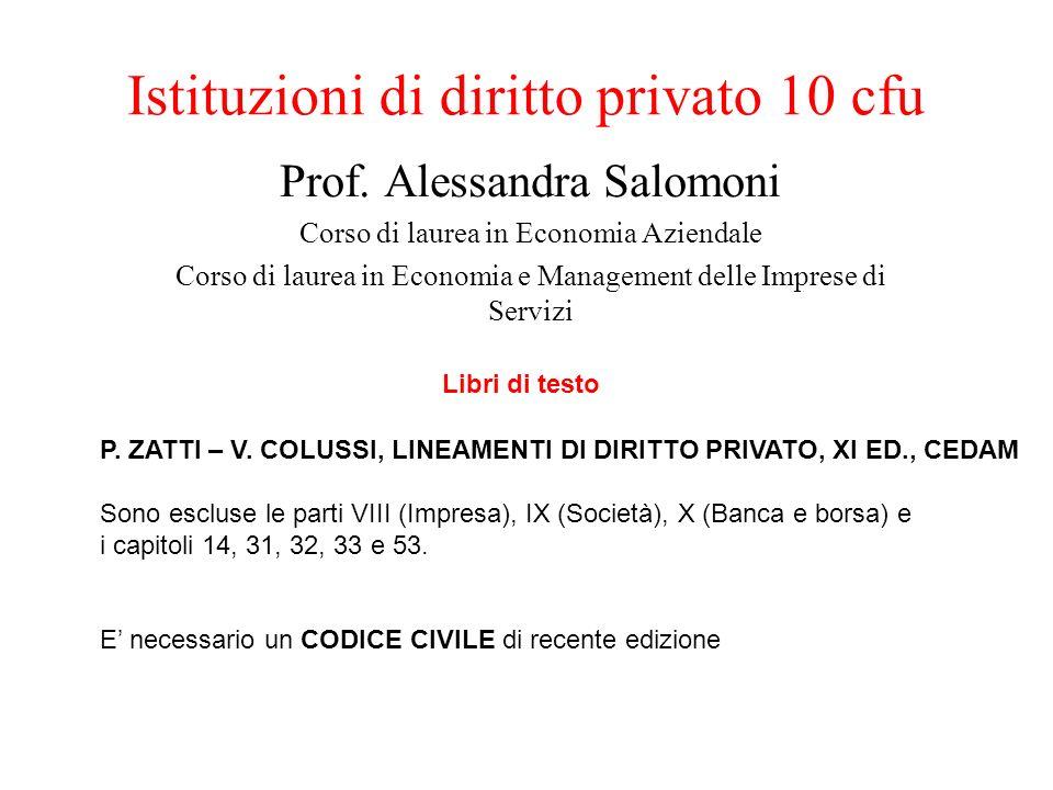 Istituzioni di diritto privato 10 cfu Prof. Alessandra Salomoni Corso di laurea in Economia Aziendale Corso di laurea in Economia e Management delle I