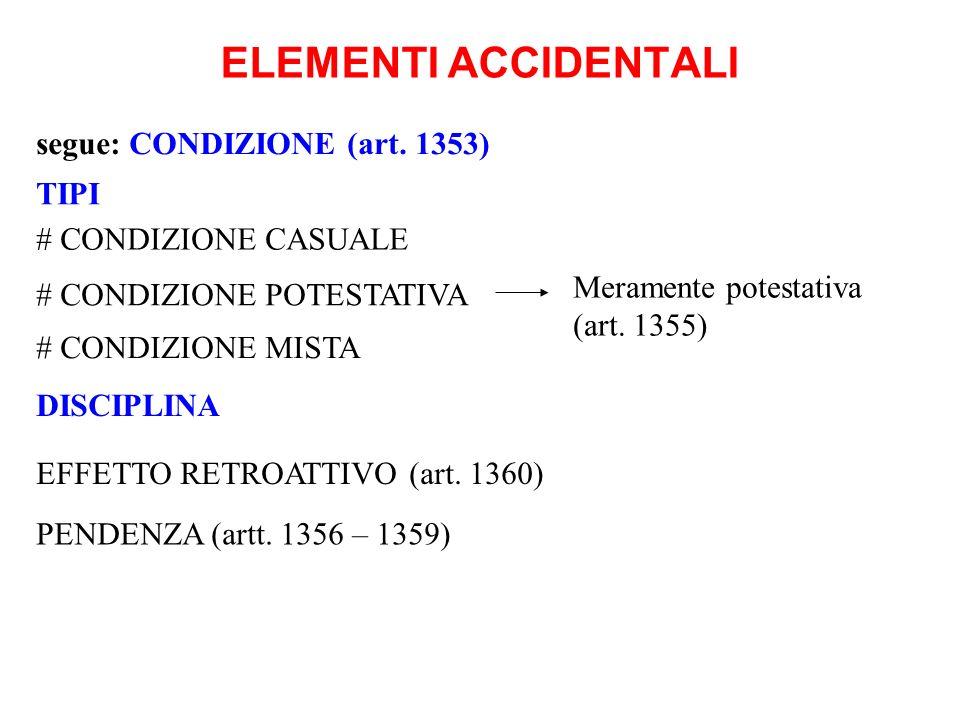 ELEMENTI ACCIDENTALI segue: CONDIZIONE (art. 1353) TIPI Meramente potestativa (art. 1355) # CONDIZIONE CASUALE # CONDIZIONE POTESTATIVA # CONDIZIONE M
