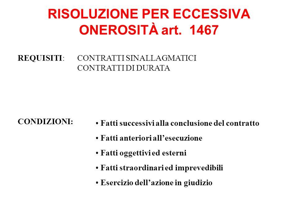 RISOLUZIONE PER ECCESSIVA ONEROSITÀ art. 1467 CONDIZIONI: Fatti successivi alla conclusione del contratto Fatti anteriori allesecuzione Fatti oggettiv
