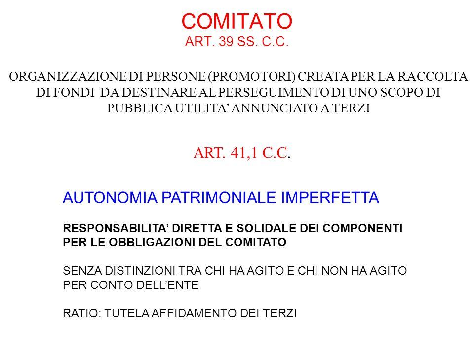COMITATO ART. 39 SS. C.C. AUTONOMIA PATRIMONIALE IMPERFETTA RESPONSABILITA DIRETTA E SOLIDALE DEI COMPONENTI PER LE OBBLIGAZIONI DEL COMITATO SENZA DI