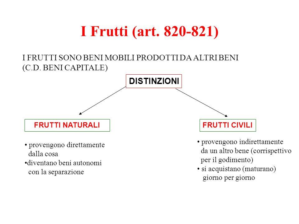 I Frutti (art. 820-821) DISTINZIONI FRUTTI NATURALIFRUTTI CIVILI I FRUTTI SONO BENI MOBILI PRODOTTI DA ALTRI BENI (C.D. BENI CAPITALE) provengono dire