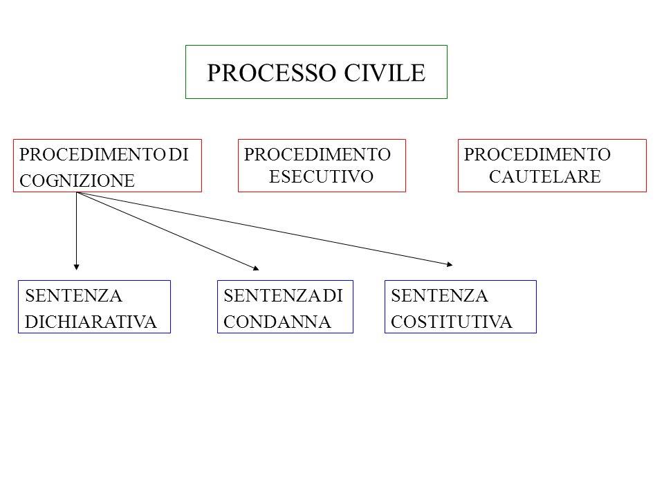 PROCESSO CIVILE PROCEDIMENTO DI COGNIZIONE PROCEDIMENTO ESECUTIVO PROCEDIMENTO CAUTELARE SENTENZA DICHIARATIVA SENTENZA DI CONDANNA SENTENZA COSTITUTI