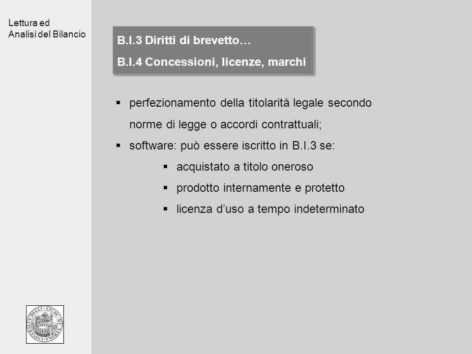 Lettura ed Analisi del Bilancio B.I.3 Diritti di brevetto… B.I.4 Concessioni, licenze, marchi B.I.3 Diritti di brevetto… B.I.4 Concessioni, licenze, m