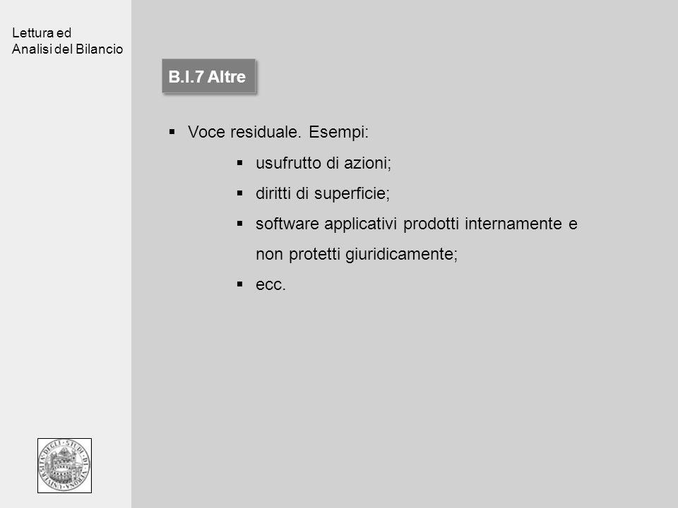Lettura ed Analisi del Bilancio B.I.7 Altre Voce residuale. Esempi: usufrutto di azioni; diritti di superficie; software applicativi prodotti internam