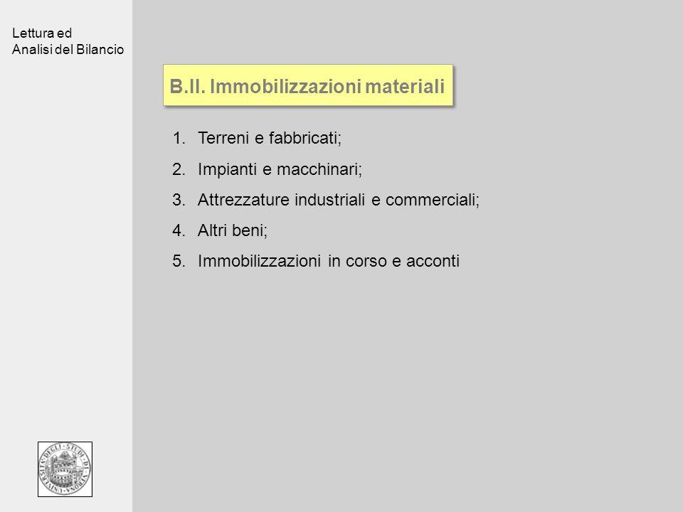 Lettura ed Analisi del Bilancio B.II. Immobilizzazioni materiali 1.Terreni e fabbricati; 2.Impianti e macchinari; 3.Attrezzature industriali e commerc