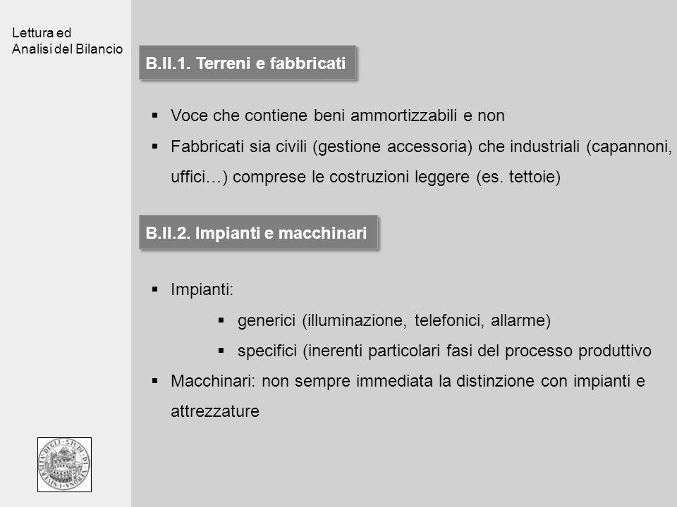Lettura ed Analisi del Bilancio B.II.1. Terreni e fabbricati Voce che contiene beni ammortizzabili e non Fabbricati sia civili (gestione accessoria) c