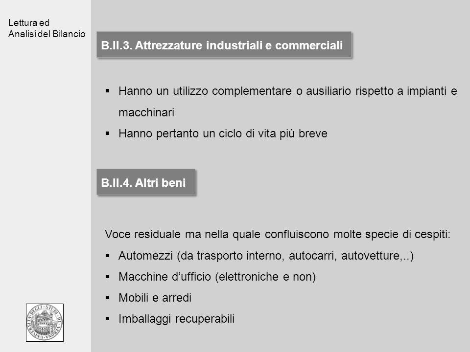 Lettura ed Analisi del Bilancio B.II.3. Attrezzature industriali e commerciali Hanno un utilizzo complementare o ausiliario rispetto a impianti e macc