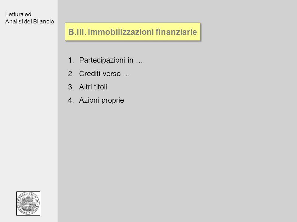 Lettura ed Analisi del Bilancio B.III. Immobilizzazioni finanziarie 1.Partecipazioni in … 2.Crediti verso … 3.Altri titoli 4.Azioni proprie