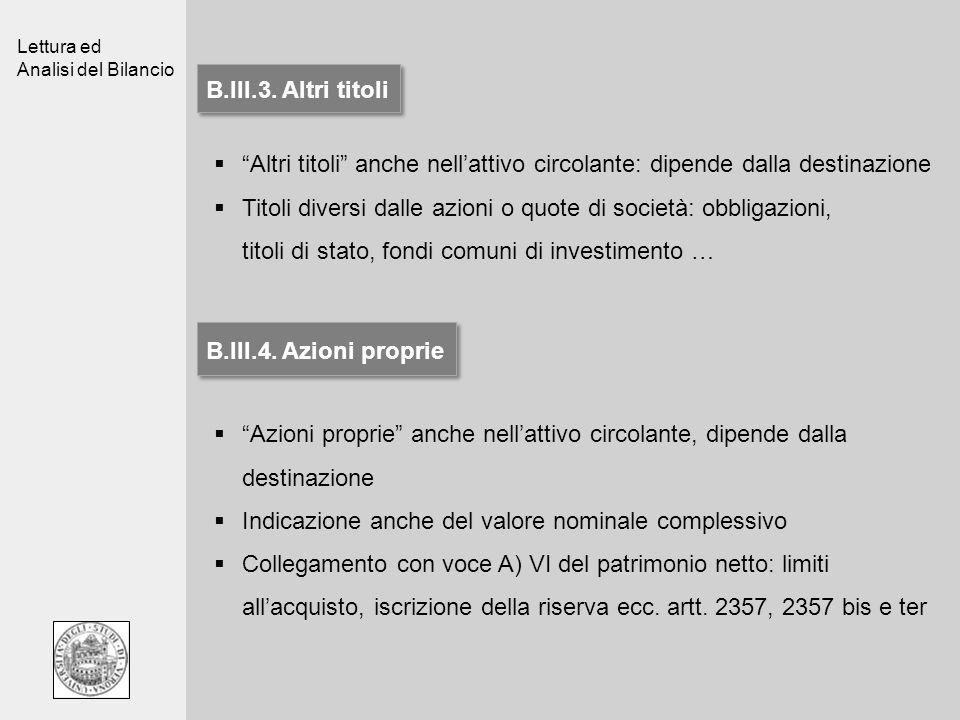 Lettura ed Analisi del Bilancio B.III.3. Altri titoli Altri titoli anche nellattivo circolante: dipende dalla destinazione Titoli diversi dalle azioni