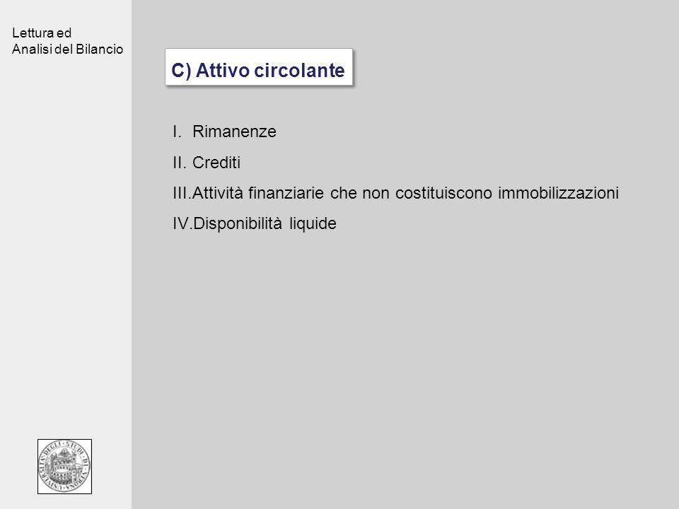Lettura ed Analisi del Bilancio C) Attivo circolante I.Rimanenze II.Crediti III.Attività finanziarie che non costituiscono immobilizzazioni IV.Disponi