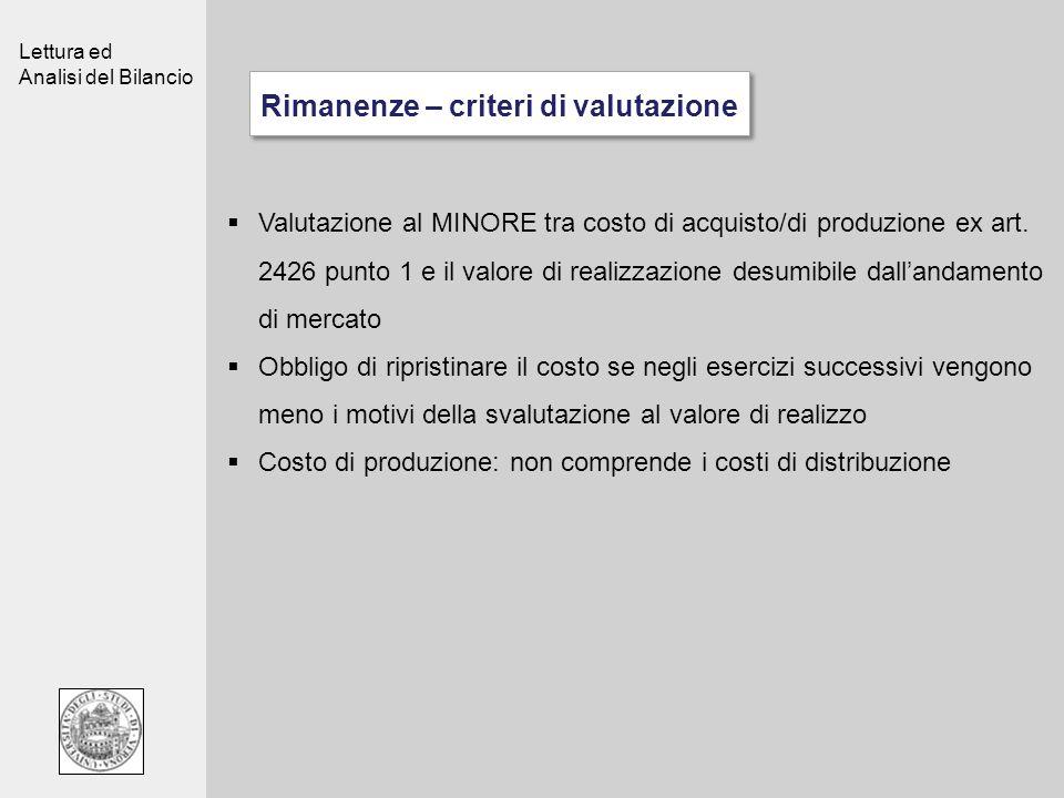 Lettura ed Analisi del Bilancio Rimanenze – criteri di valutazione Valutazione al MINORE tra costo di acquisto/di produzione ex art. 2426 punto 1 e il