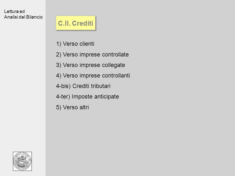 Lettura ed Analisi del Bilancio C.II. Crediti 1)Verso clienti 2)Verso imprese controllate 3)Verso imprese collegate 4)Verso imprese controllanti 4-bis