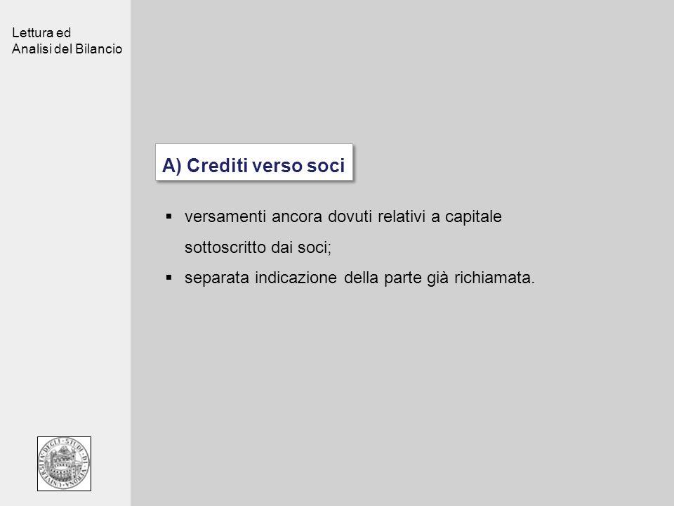 Lettura ed Analisi del Bilancio A) Crediti verso soci versamenti ancora dovuti relativi a capitale sottoscritto dai soci; separata indicazione della p