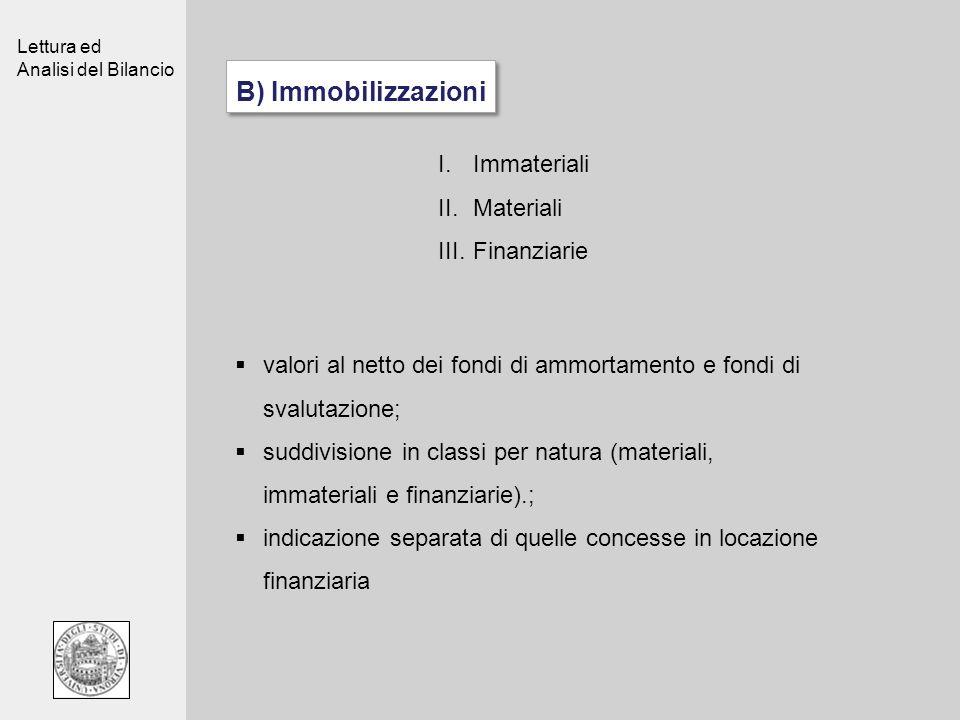 Lettura ed Analisi del Bilancio B) Immobilizzazioni valori al netto dei fondi di ammortamento e fondi di svalutazione; suddivisione in classi per natu