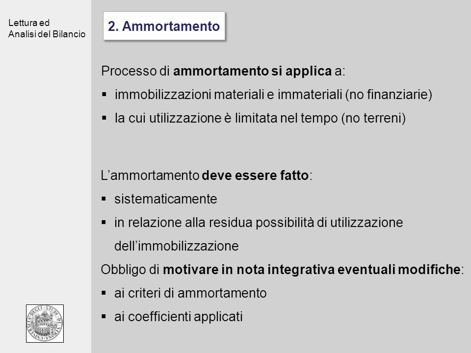 Lettura ed Analisi del Bilancio Processo di ammortamento si applica a: immobilizzazioni materiali e immateriali (no finanziarie) la cui utilizzazione