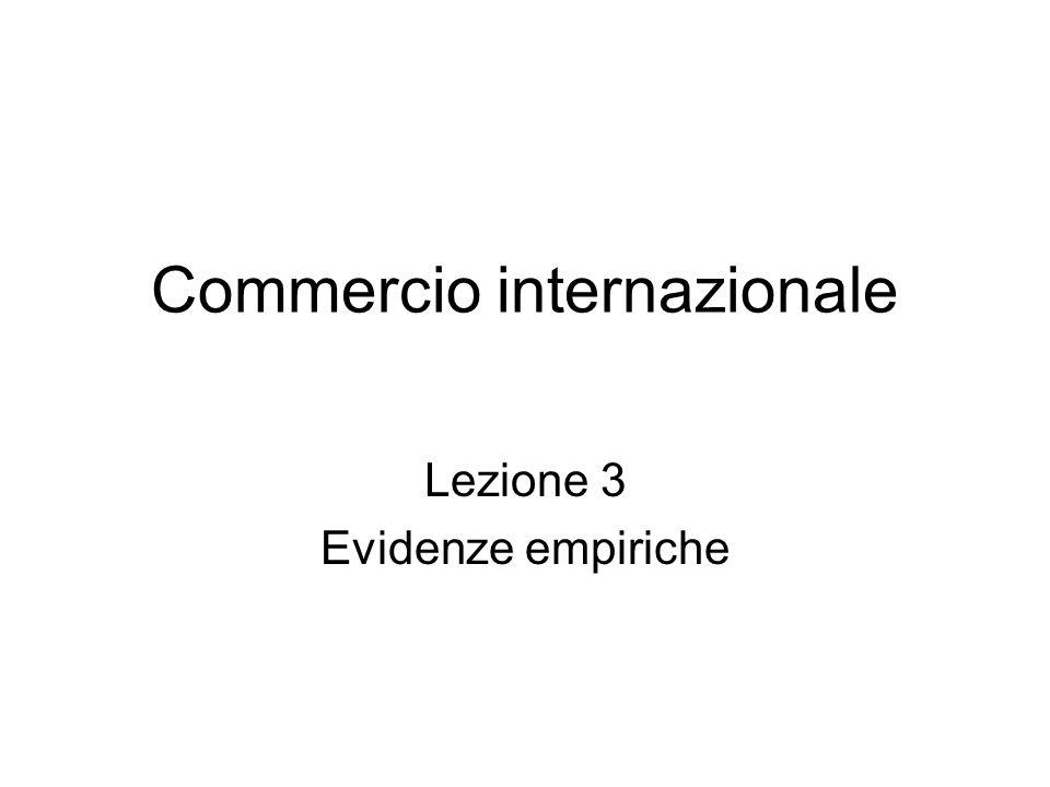 Commercio internazionale Lezione 3 Evidenze empiriche