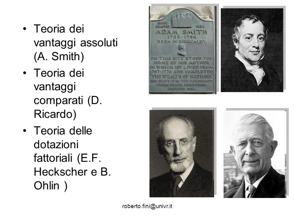 roberto.fini@univr.it Teoria dei vantaggi assoluti (A. Smith) Teoria dei vantaggi comparati (D. Ricardo) Teoria delle dotazioni fattoriali (E.F. Hecks