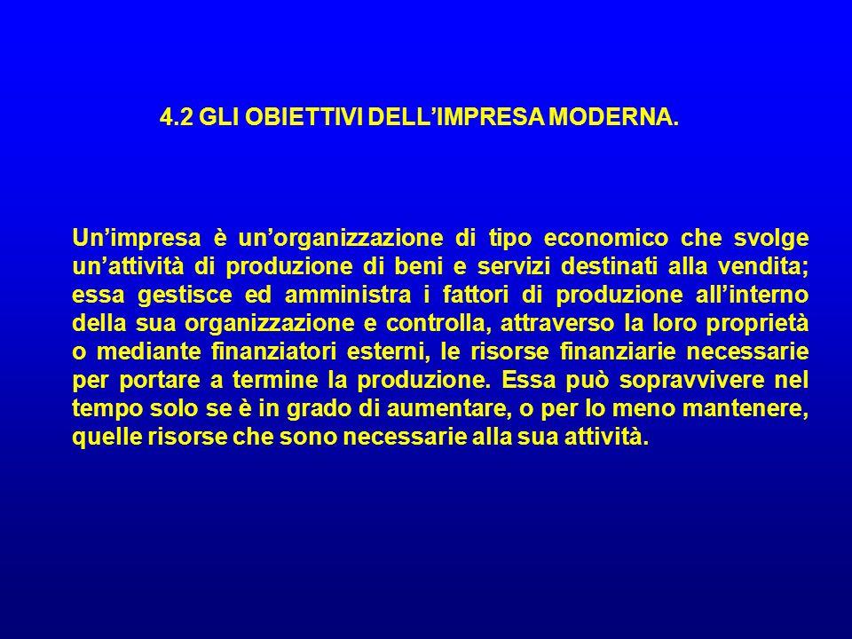4.2 GLI OBIETTIVI DELLIMPRESA MODERNA. Unimpresa è unorganizzazione di tipo economico che svolge unattività di produzione di beni e servizi destinati