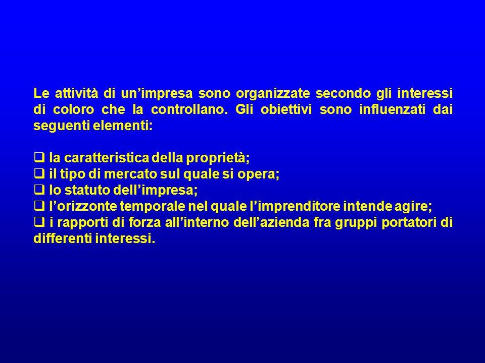 Le attività di unimpresa sono organizzate secondo gli interessi di coloro che la controllano. Gli obiettivi sono influenzati dai seguenti elementi: la