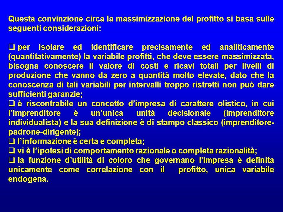 Questa convinzione circa la massimizzazione del profitto si basa sulle seguenti considerazioni: per isolare ed identificare precisamente ed analiticam